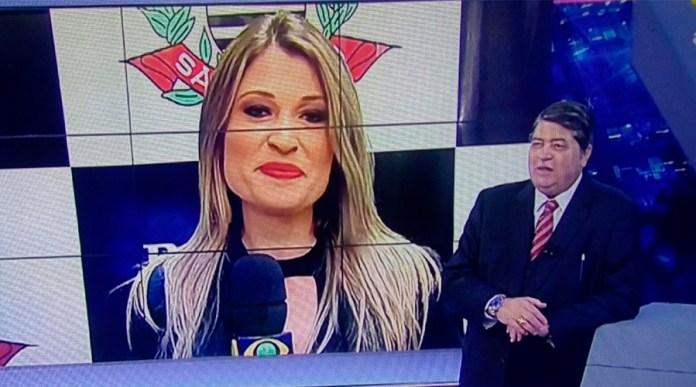 A jornalista Bruna Drews e o apresentador José Luiz Datena (Reprodução)