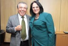 Maurício de Sousa e a ministra Damares Alves em Brasília