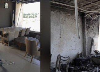 Estúdio da Daystar em Jerusalém antes e depois do ataque a bomba. (Foto: Reprodução/CBN News)
