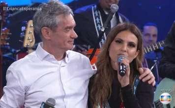 Serginho Groisman e a cantora Aline Barros Foto: TV Globo