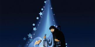Estrela ilumina o menino Jesus e seus pais, Maria e José (Ilustração)