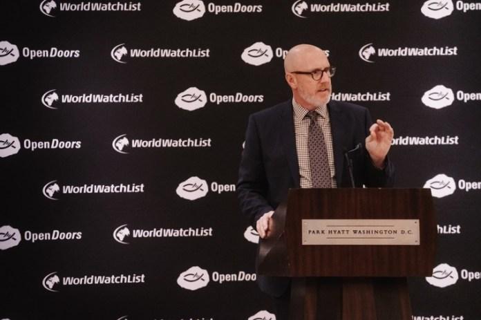 David Curry, presidente e CEO da Portas Abertas dos EUA, discursa sobre o aumento da perseguição cristã global na conferência de imprensa da Lista Mundial da Perseguição de 2020 da Portas Abertas. (Foto: Portas Abertas EUA)