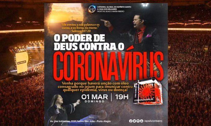 Igreja é investigada por anunciar imunização contra o coronavírus.