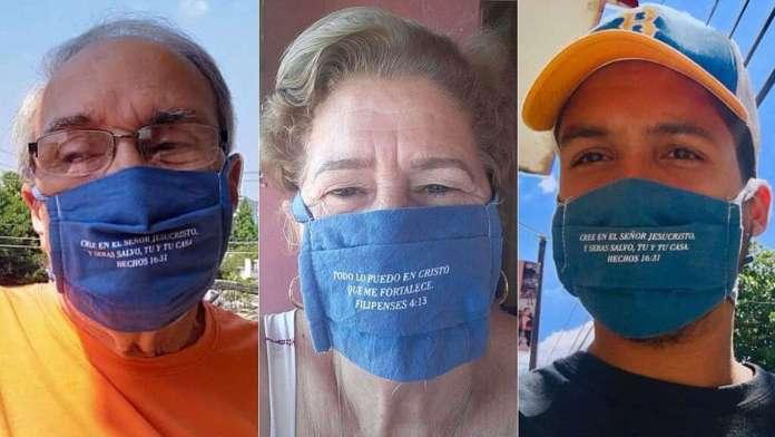 Pastores cubanos tiveram a ideia de colocar versículos da Bíblia em suas máscaras.