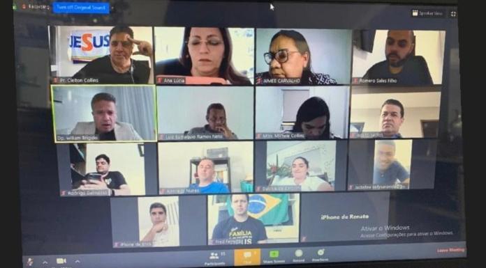 Print da teleconferência das bancadas evangélicas de Pernambuco