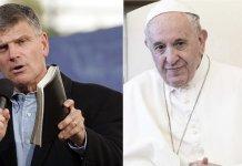 O pastor Franklin Graham (esquerda) respondeu à declaração do papa Francisco (direita), que apoiou a união civil entre homossexuais. (Imagem: Guiame / Edição)