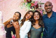 Juliana Paes com seus irmãos Mariana, Rosana e Junior. (Foto: Reprodução / Instagram)