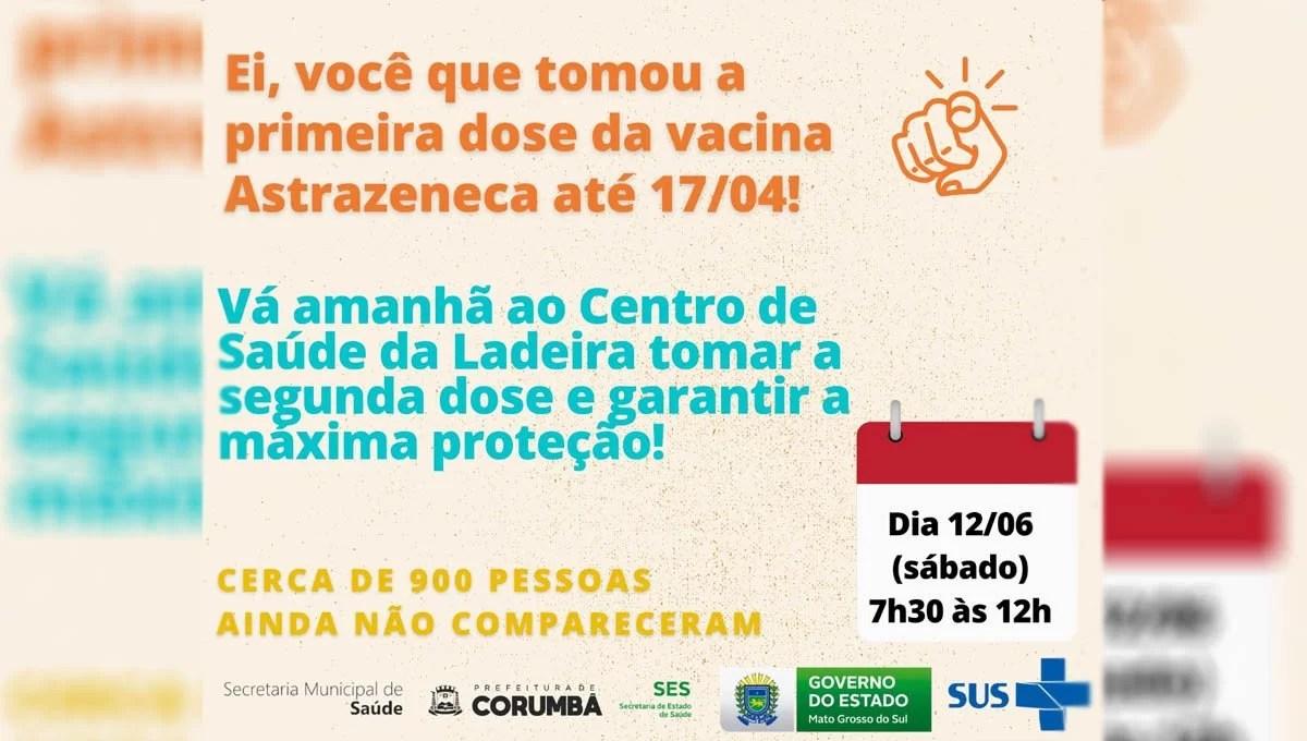 You are currently viewing Em Corumbá 900 pessoas deixaram de tomar a 2ª dose da vacina AstraZeneca