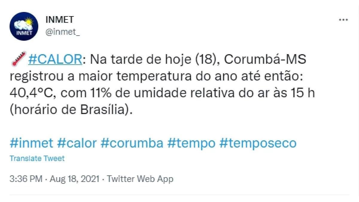 You are currently viewing Corumbá registra tarde mais quente do ano com temperatura acima dos 40°C graus