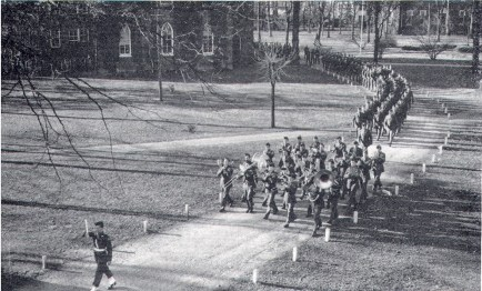 image of The Army Specialist Training Unit Marching across Campus