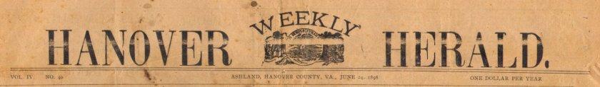 image of hanover herlad masthead, 1898