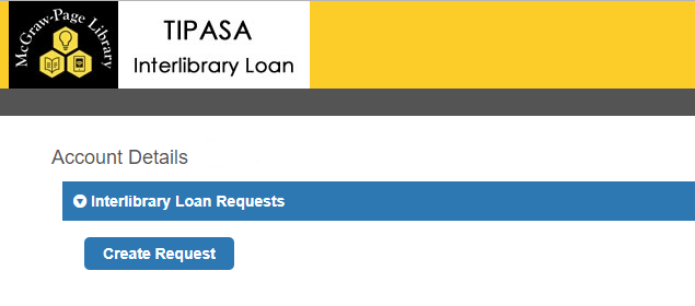Create Request button in Tipasa is located under the Interlibrary Loan Requests bar