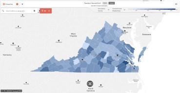image of map depicting public pre-school enrollment in Virginia