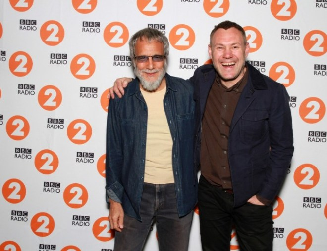 BBC Radio 2 Folk Award 2015 Lifetime Achievement winner YUSUF / CAT STEVENS with David Gray who presented the awarded earlier that night at the Cardiff Millenium Centre. Photo courtesy of the BBC.