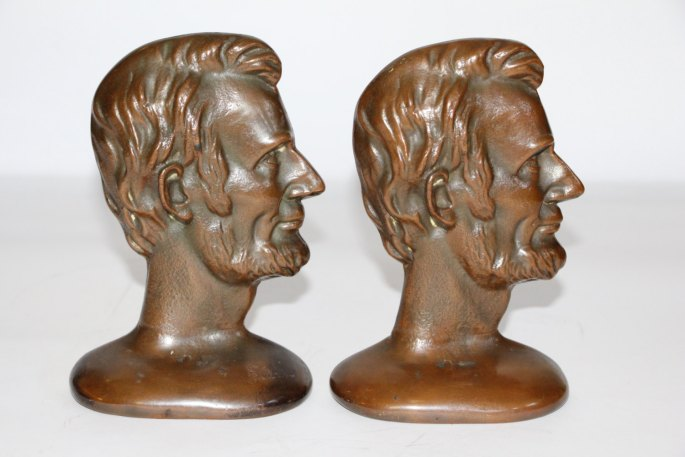 Abraham Lincoln Bronze Bust Profile Bookends