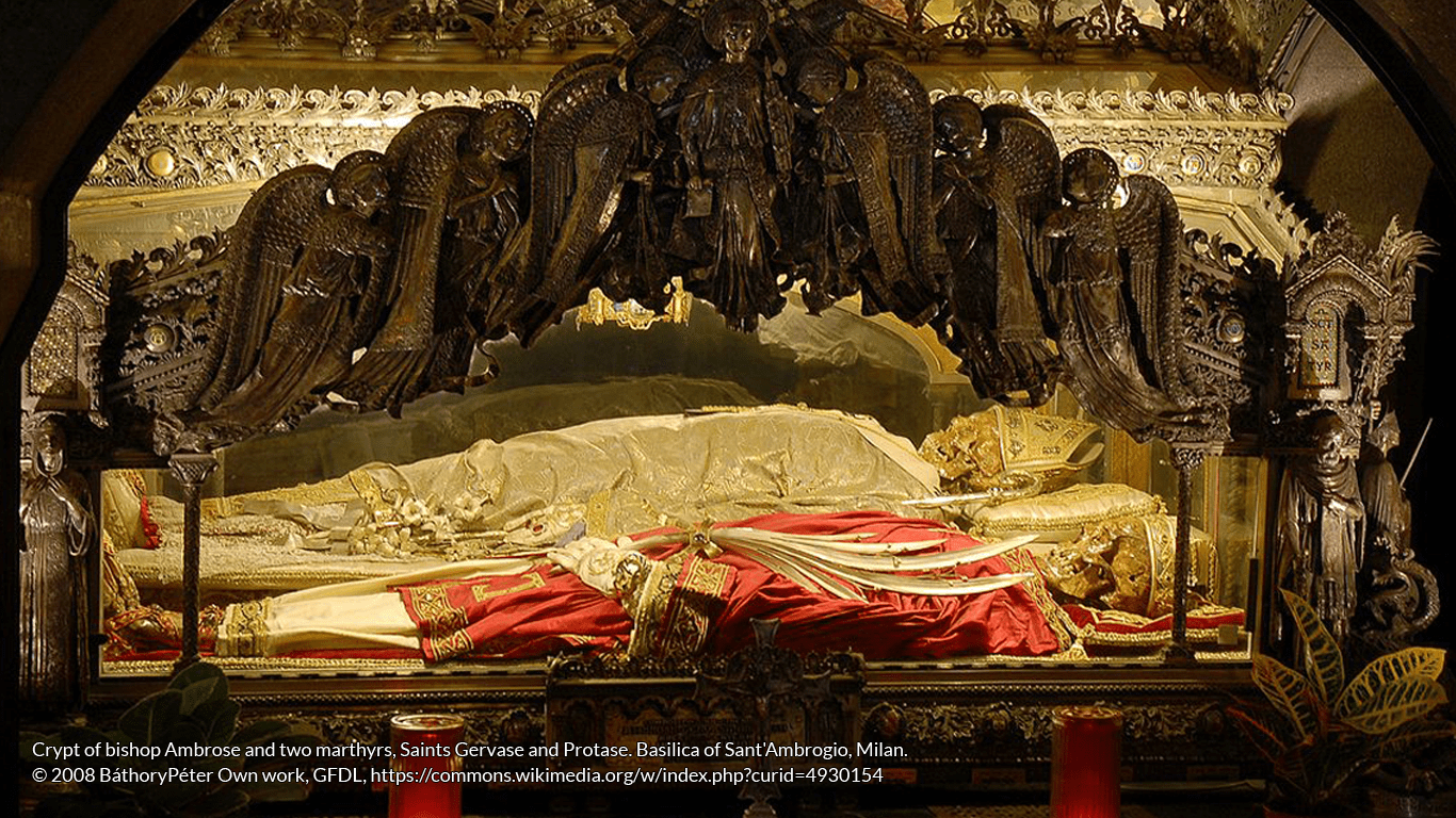 The body of Ambrose (with white vestments) in the crypt of Sant'Ambrogio basilica.