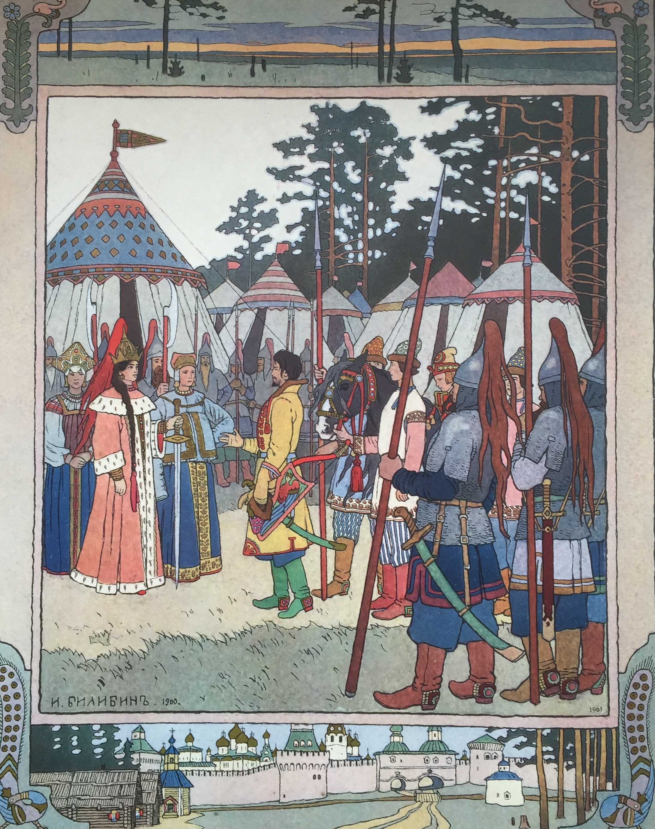 Marja Morevna, the warrior queen, greets her handsome visitor. From Marja Morevna, a Russian Fairy Tale by Ivan Bilibin.