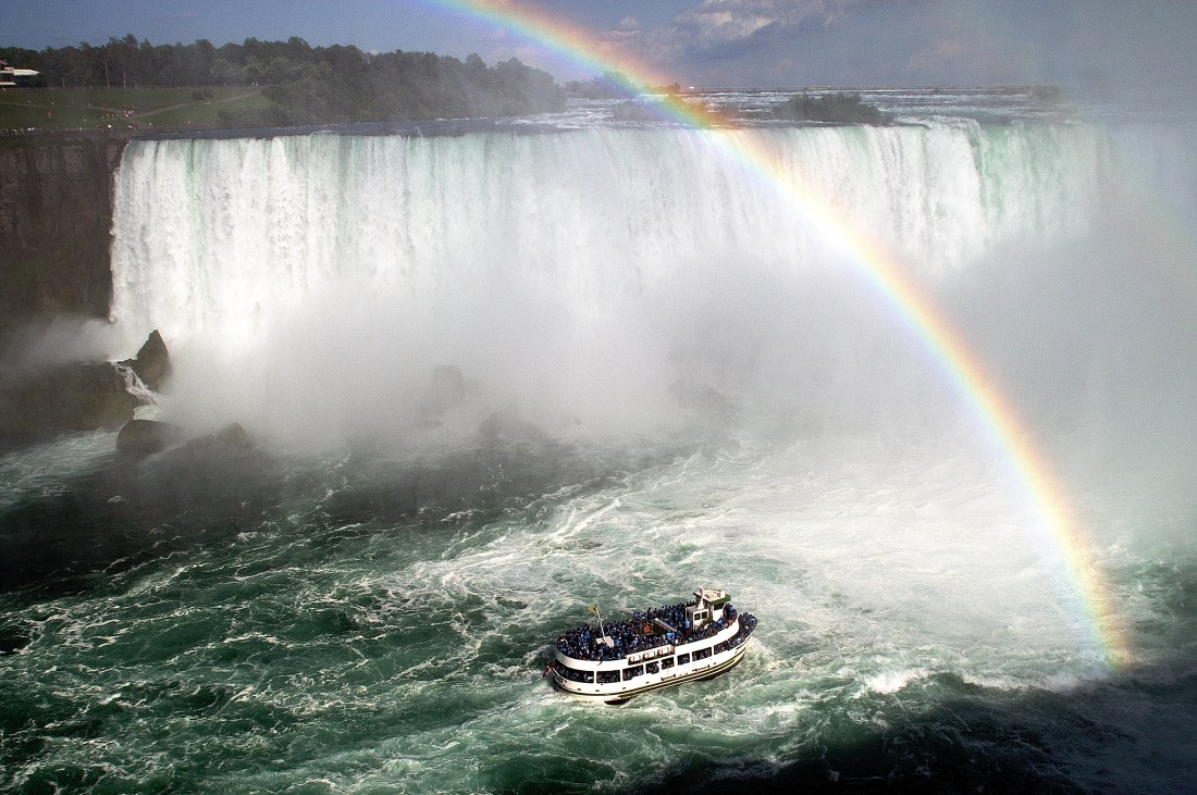 Named after the Native American folklore heroine, the ship Maid of the Mist tours Niagara Falls. (SaffronBlaze: https://commons.wikimedia.org/wiki/File:Maid-of-the-Mist_Rainbow.jpg)