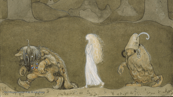 A radiant human child is led away by the trolls who have stolen her. (The Princess and the Trolls © John Bauer)