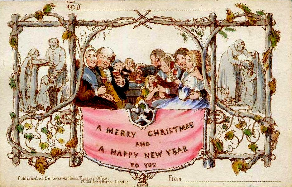 The world's first commercially produced Christmas card, made by Henry Cole 1843.