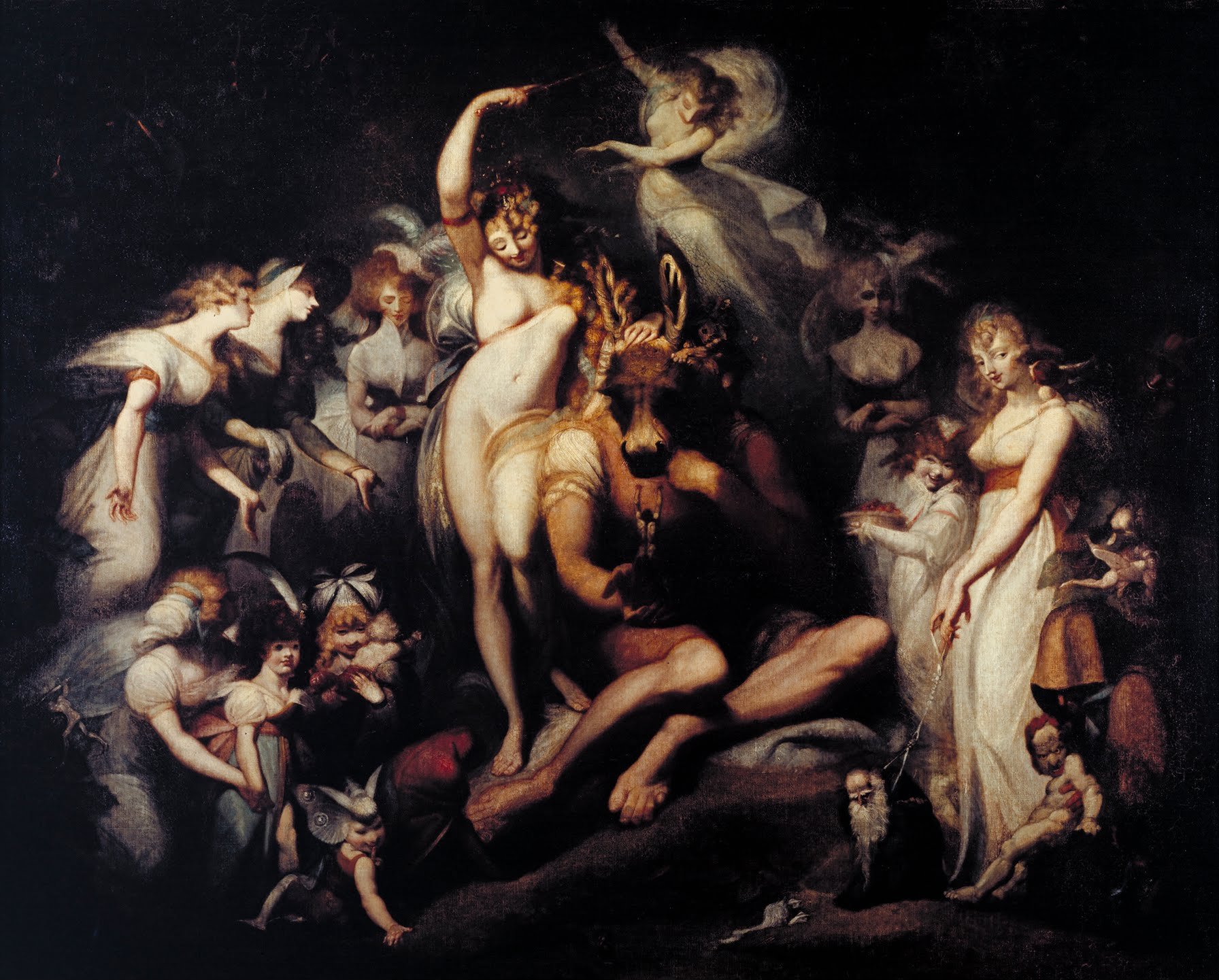 """Titania and Bottom"", one of Fuseli's grand paintings of literary fairies. https://commons.wikimedia.org/w/index.php?curid=13420586"