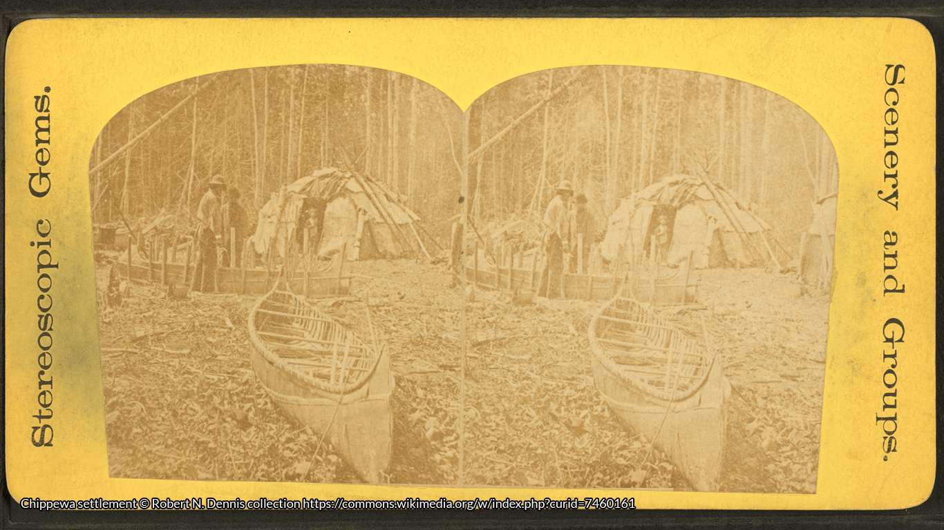 Chippewa settlement © Robert N. Dennis collection https://commons.wikimedia.org/w/index.php?curid=7460161