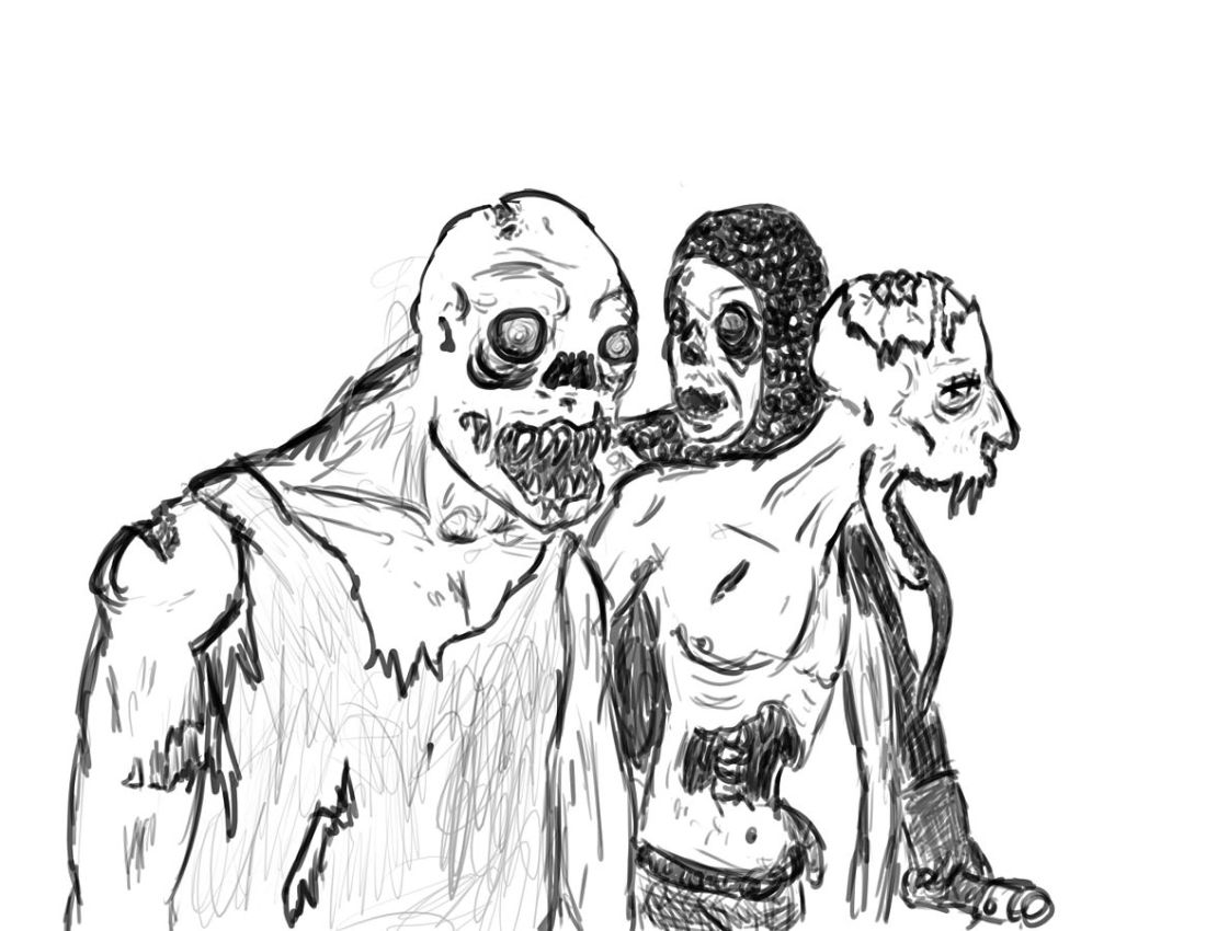 An artist's depiction of decaying reanimated corpses known as zombies © Assembléetest dessin personnel https://commons.wikimedia.org/w/index.php?curid=11038202