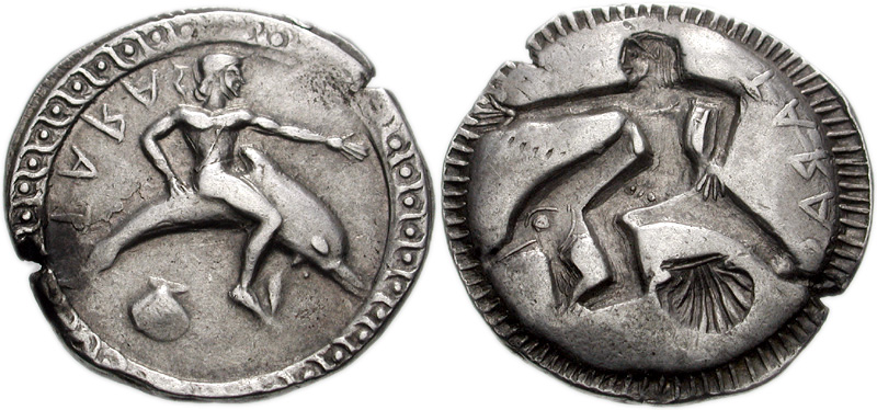 Taras, founder of Taranto, was rescued by a dolphin sent by his father Poseidon. By Classical Numismatic Group, Inc. http://www.cngcoins.com, CC BY-SA 3.0, https://commons.wikimedia.org/w/index.php?curid=1011237