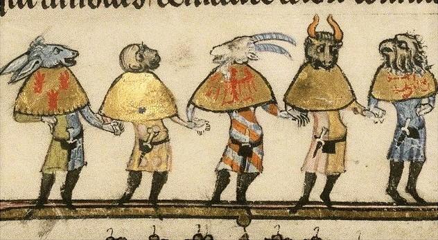 Five Animal-Headed Carnival Mummers, c. 1338-44, MS Bodl. 264, fol 181v. http://bodley30.bodley.ox.ac.uk:8180/luna/servlet/detail/ODLodl~7~7~55851~116209:MS--Bodl--264?sort=Shelfmark
