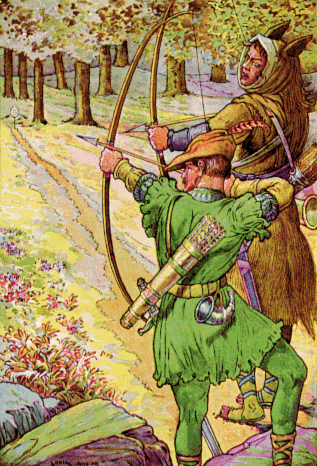 Robin shoots with Sir Guy. This 1912 illustration does indeed depict a scene played out in the original ballads. © Louis Rhead https://commons.wikimedia.org/wiki/Robin_Hood#/media/File:Robin_shoots_with_sir_Guy_by_Louis_Rhead_1912.png