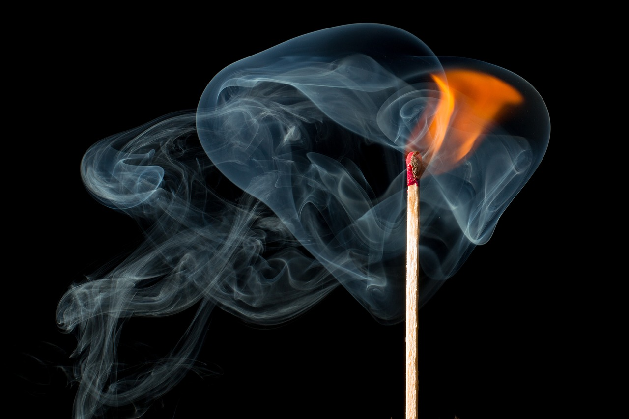 Three strikes on a match https://pixabay.com/en/fire-smoke-smoke-fire-match-burn-1899824/