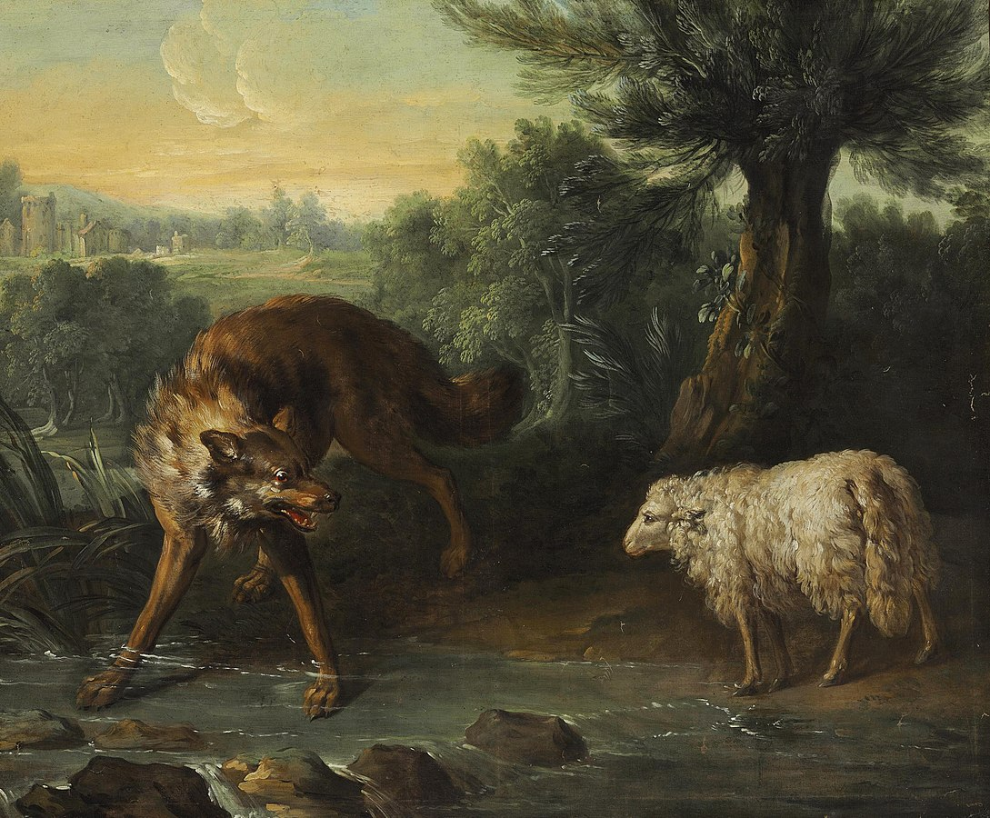 Painting of a wolf snarling at a lamb near a river.
