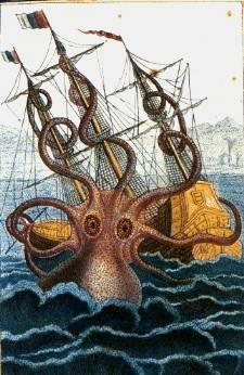 Pen and wash drawing of a kraken attacking a sailing ship.