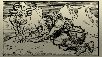Drawing of the giant Ymir with Auðumbla the cow.
