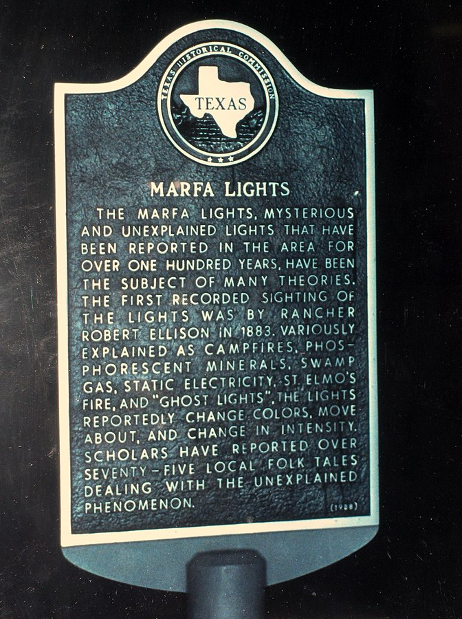 Sign about the Marfa Lights from Roswell UFO Museum, Roswell, New Mexico, USA.