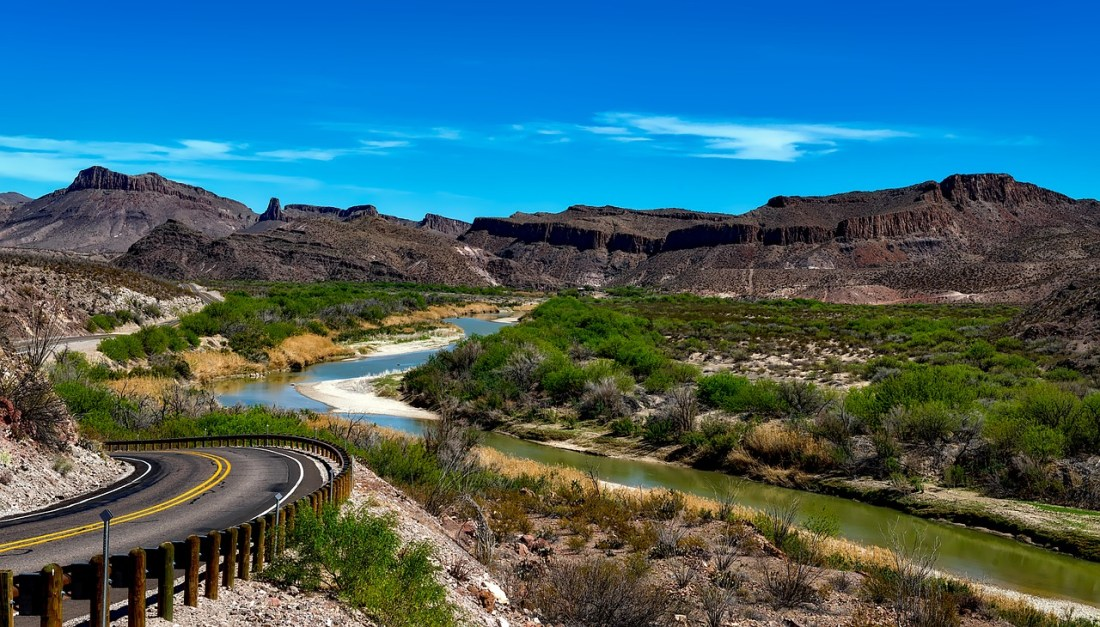 Big Bend National Park - view of the landscape with a road snaking into the distance