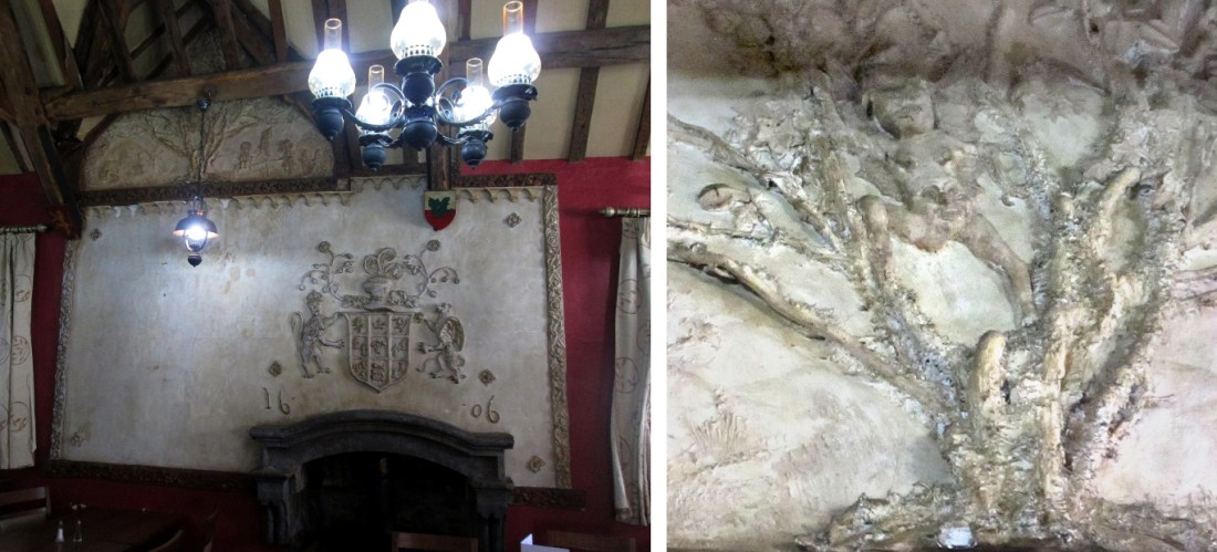 The Fifteenth Century plasterwork in the upstairs function room at Y Sospan, and the Devil in the detail. © Remy Dean