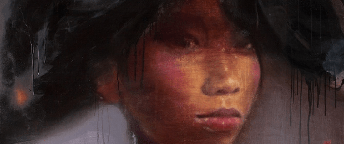 Painting: close up of girl wearing a hat