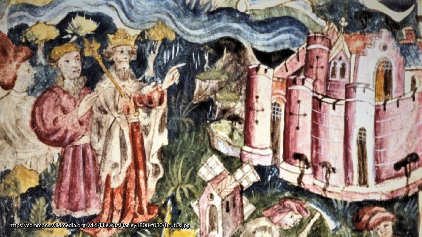 """Full page miniature of the arrival of Brutus to England, the slaying of giants and the building of a city, possibly London"""" (BL Catalog of Illum. Mss.), from Geoffrey's Historia Regum Britannae, in Harley MS 1808, fol. 30, Held and digitised by the British Library.[1]"""