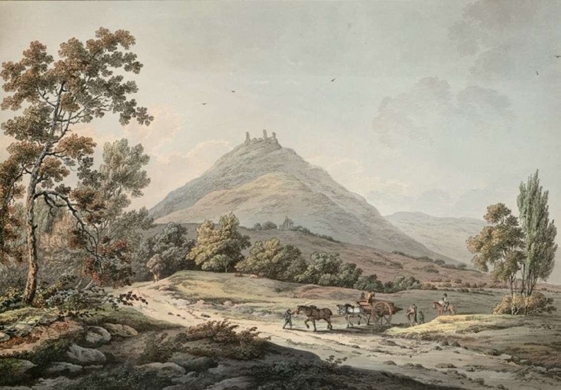 Dinas Bran - By Comte, B., engraver. Laporte, John, 1761-1839 https://commons.wikimedia.org/wiki/File:Castle_Dinas_Brand,_in_the_vale_of_Llangothlin,_Denbyshire.jpeg