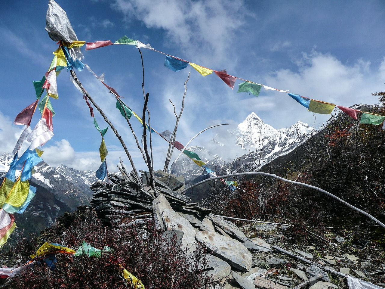 Himalayas with Tibetan prayer flags in foreground