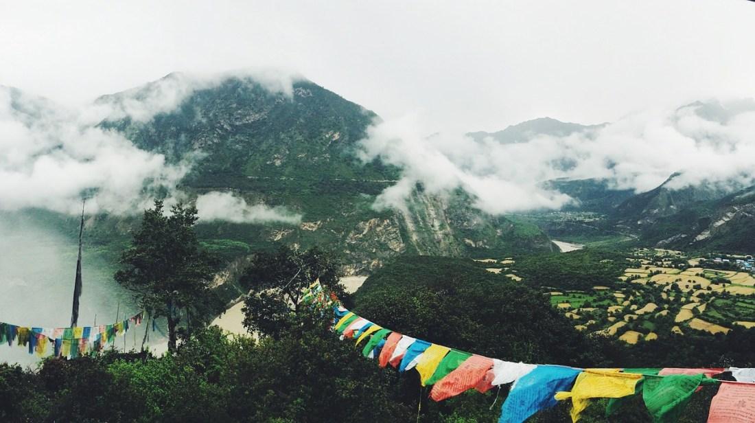 Mountain landscape with Tibetan prayer flags