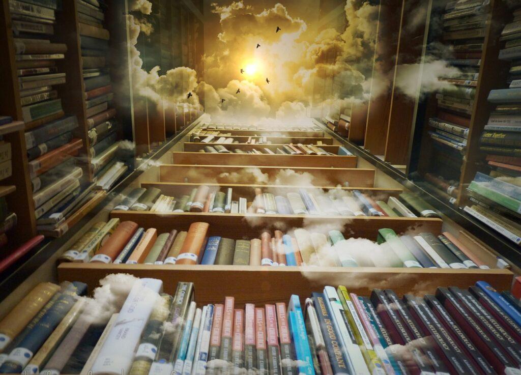 Folk tales https://pixabay.com/en/library-sky-birds-mystical-clouds-425730/