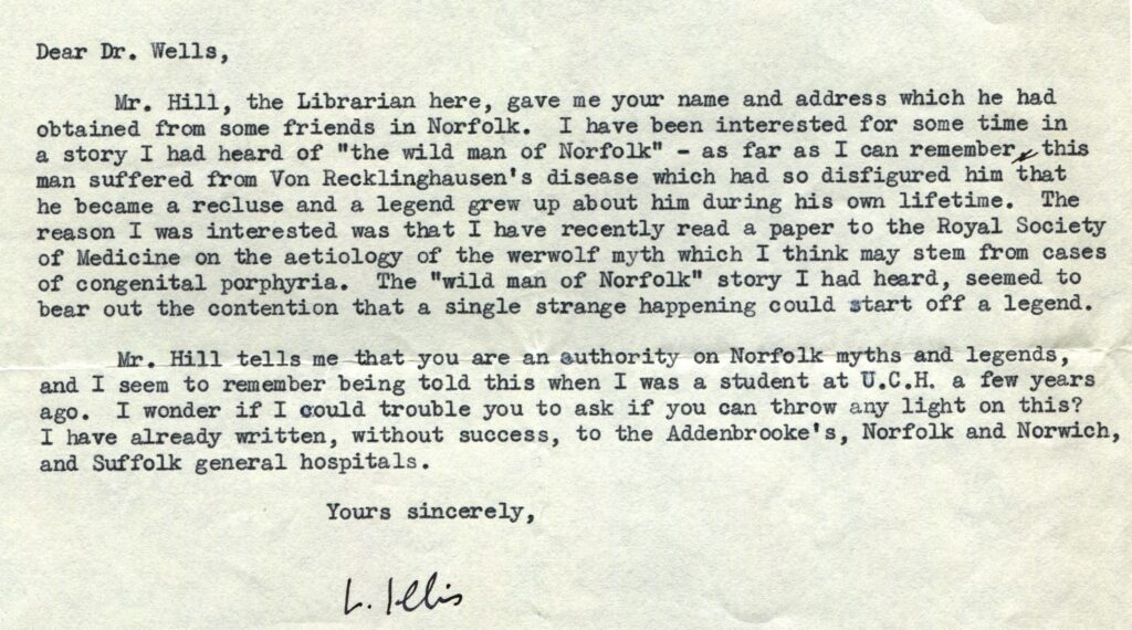 Letter from Dr L.S. Illis to Calvin Wells (7 October 1963)