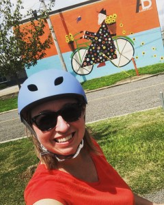 Me on the Rotary Trail in front of the Tres Taylor bicycle lady mural.