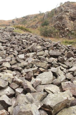 滿佈大少不一的岩石