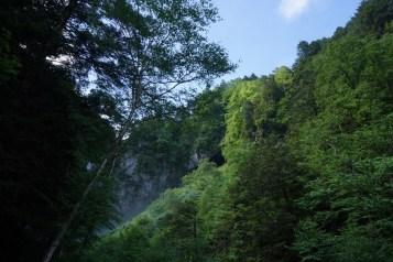 瀑布匿藏在深谷內