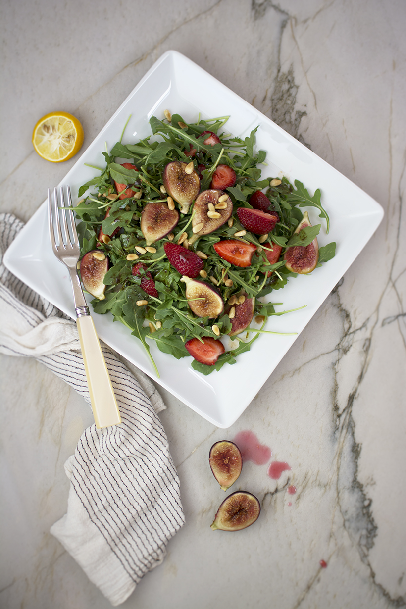 Plated Fig Strawberry Salad (lighter)