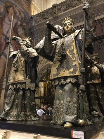 The tomb of Christopher Columbus elevated by 4 statues representing the America's that he discovered
