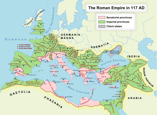The Roman Empire under Trajan in 117; Imperial provinces are shaded green, Senatorial provinces are shaded pink, and client states are shaded gray.Public Domain